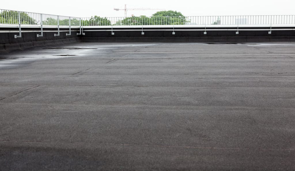 Flat top asphalt commercial roof
